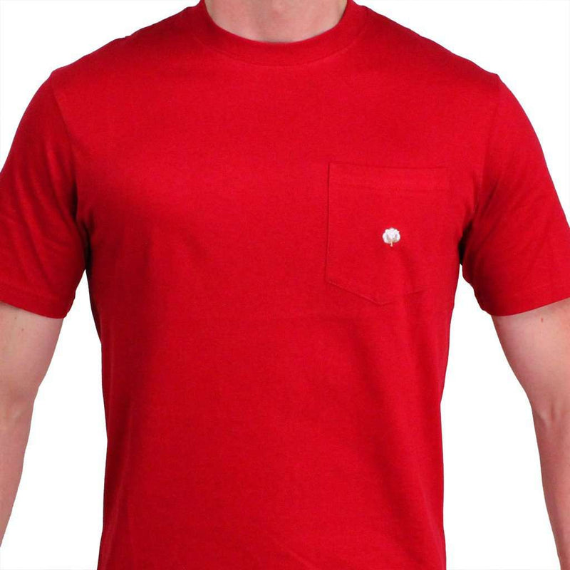 Men's Tee Shirts - Short Sleeve Pocket Tee In Crimson By Cotton Brothers
