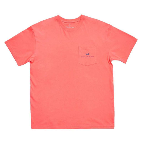 Men's Tee Shirts - Shotgun Shell Tee In Coral By Southern Marsh