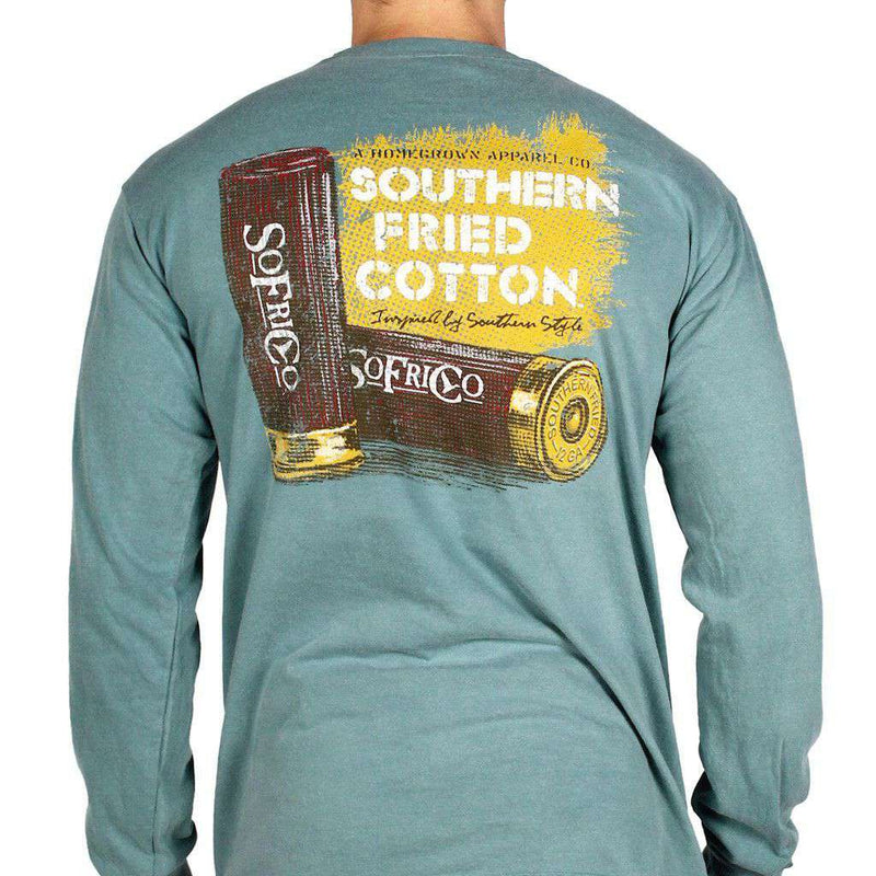 Men's Tee Shirts - Shotgun Shells Long Sleeve Tee Shirt In Green By Southern Fried Cotton