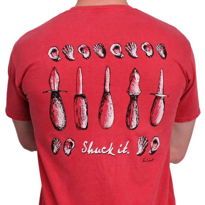 Men's Tee Shirts - Shuck It! Original Watercolor Tee In Crimson By WM Lamb & Son