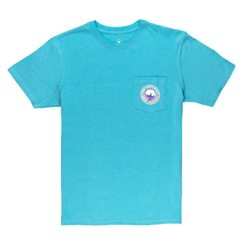 Men's Tee Shirts - Signature Logo Tee In Heather Button Blue By The Southern Shirt Co. - FINAL SALE