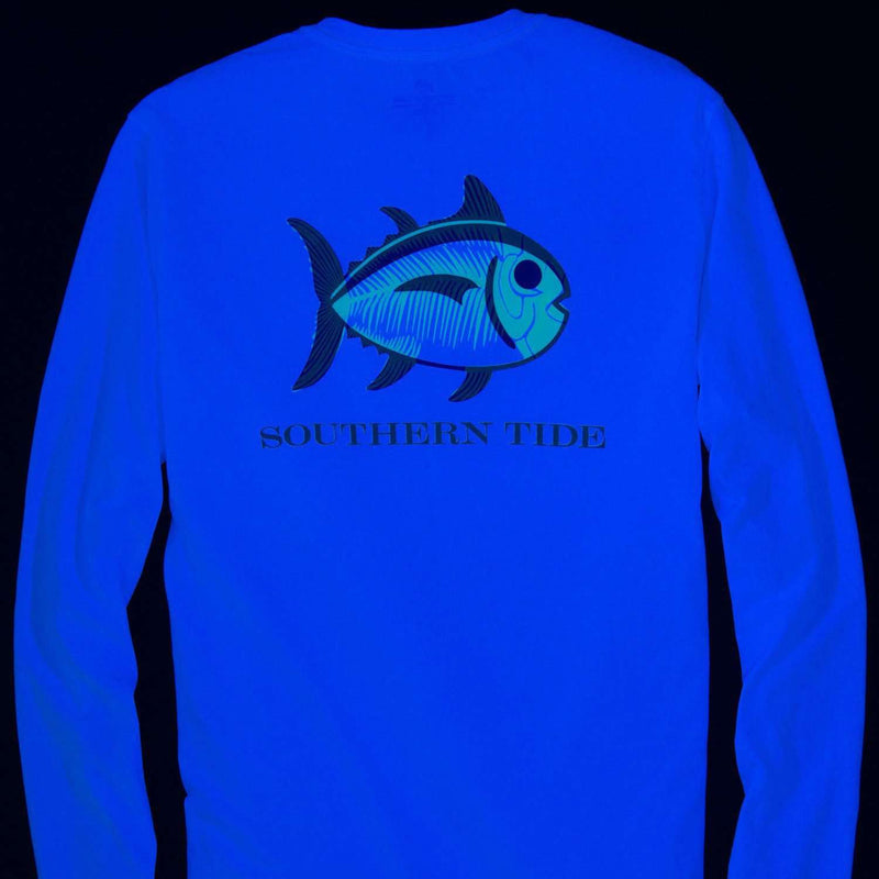 Skelejack Glow in the Dark Long Sleeve Tee in White by Southern Tide