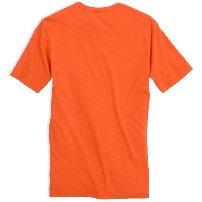 Men's Tee Shirts - Skipjack Front Print Tee Shirt In Orange Sky By Southern Tide