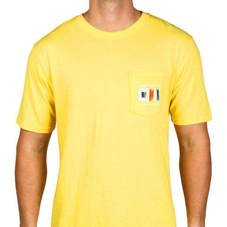 Skipjack Signal Flag Country Club Prep Pocket Tee in Yellow by Southern Tide