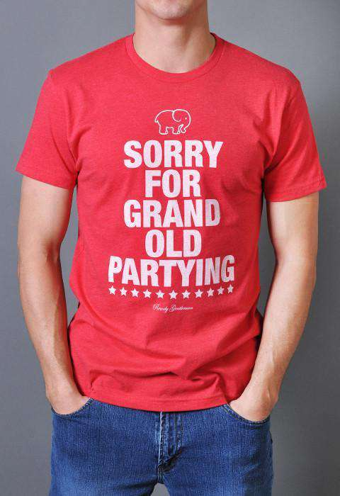 Men's Tee Shirts - Sorry For Grand Old Parting Vintage Tee Shirt In Red By Rowdy Gentleman - FINAL SALE