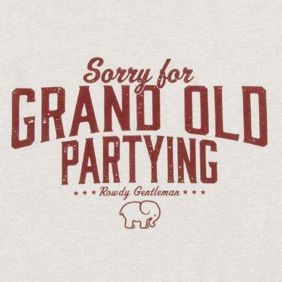 Sorry For Grand Old Partying Vintage Tee in Sand by Rowdy Gentleman - FINAL SALE