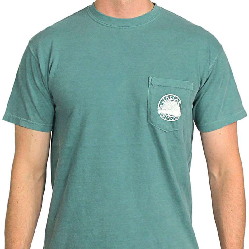 "Southern Essentials ""Duck Hunt"" Short Sleeve Pocket Tee in Light Green by Live Oak"