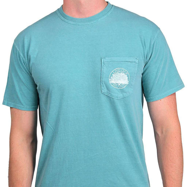 "Southern Essentials ""Golf Essentials"" Short Sleeve Pocket Tee in Seafoam by Live Oak"
