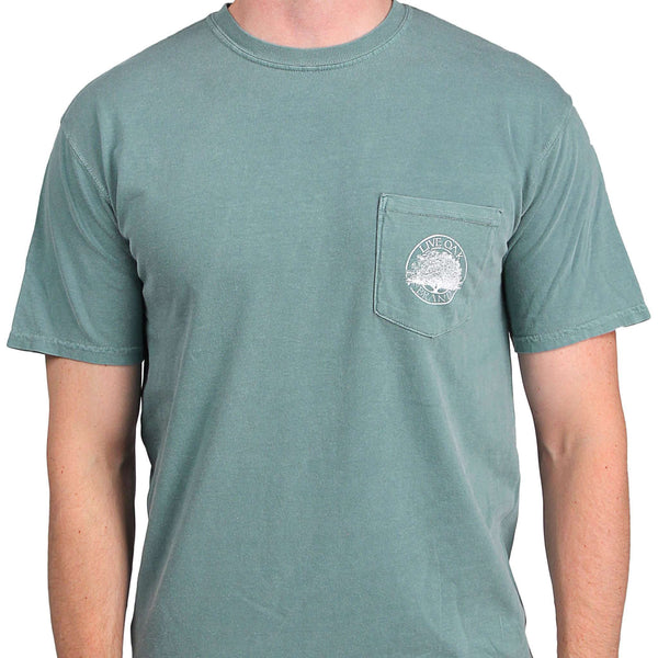 "Southern Essentials ""Men's Essentials"" Short Sleeve Pocket Tee in Light Green by Live Oak"