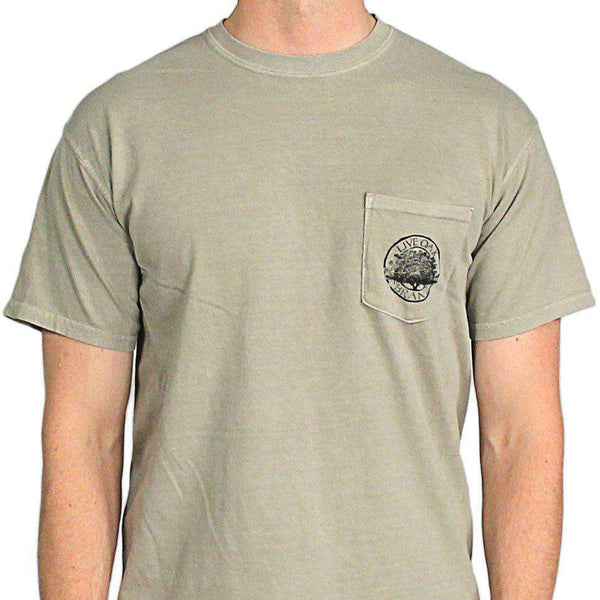 "Southern Essentials ""Quail Hunt"" Short Sleeve Pocket Tee in Stone by Live Oak"