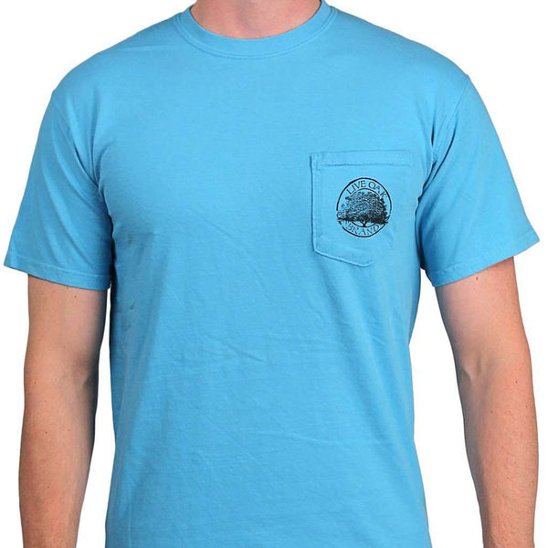 "Southern Essentials ""Summer Essentials"" Short Sleeve Pocket Tee in Sapphire by Live Oak"