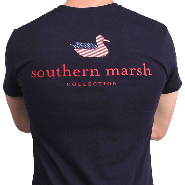 Men's Tee Shirts - Southern Marsh Authentic Flag Tee In Navy By Southern Marsh