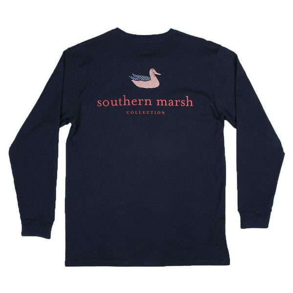 Men's Tee Shirts - Southern Marsh LONG SLEEVE Authentic Flag Tee In Navy By Southern Marsh