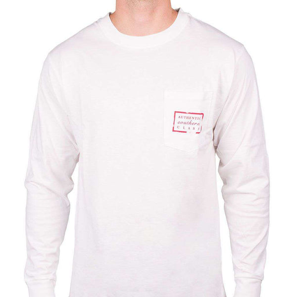 Men's Tee Shirts - Southern Marsh Long Sleeve Authentic Flag Tee In White By Southern Marsh