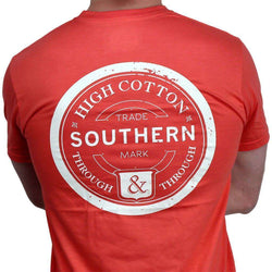 "Men's Tee Shirts - ""Southern Through And Through"" Pocket Tee In Coral By High Cotton"
