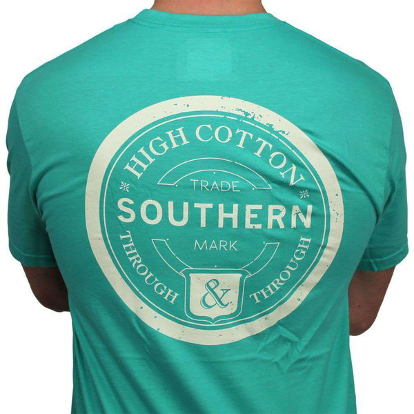 "Men's Tee Shirts - ""Southern Through And Through"" Pocket Tee In Emerald By High Cotton"