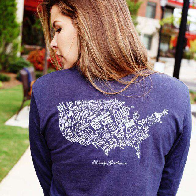 Star Spangled Banner Long Sleeve Pocket Tee in Navy by Rowdy Gentleman