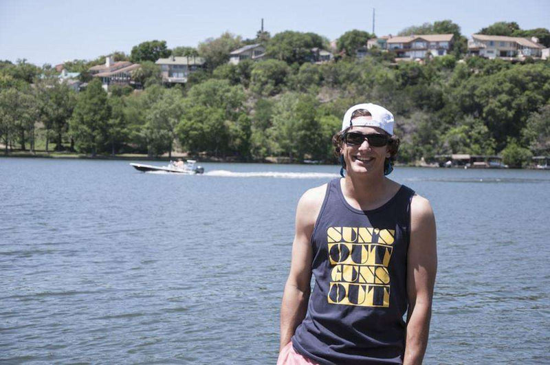 Men's Tee Shirts - Sun's Out Guns Out Tank Top In Navy By Rowdy Gentleman-Small - FINAL SALE