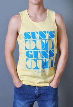 Men's Tee Shirts - Sun's Out Guns Out Tank Top In Yellow By Rowdy Gentleman - FINAL SALE