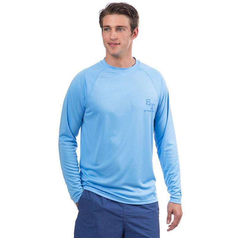 T3 Contour Skipjack Long Sleeve Performance Tee Shirt in Ocean Channel by Southern Tide