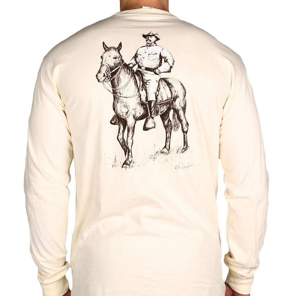 Men's Tee Shirts - Teddy Roosevelt Long Sleeve Tee In Ivory By WM Lamb & Son