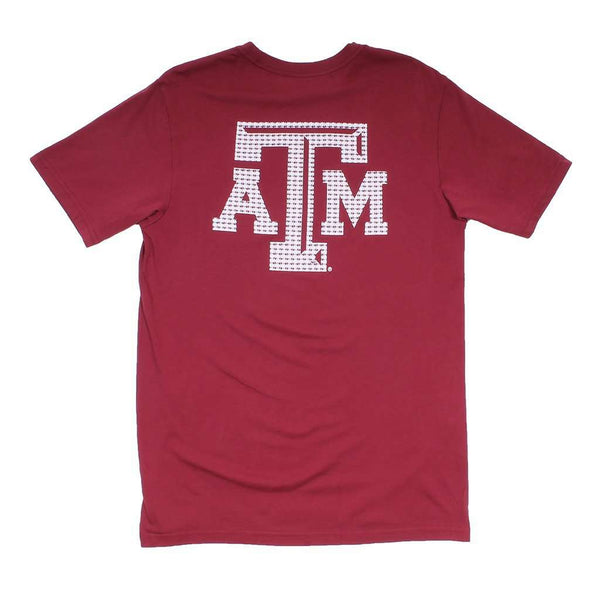 Men's Tee Shirts - Texas A&M University Skipjack Fill T-Shirt In Chianti By Southern Tide