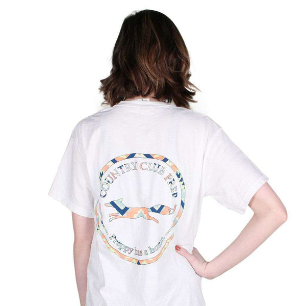 The Aztec Pattern Original Logo Tee Shirt in White by Country Club Prep - FINAL SALE