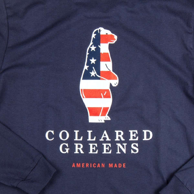 The Boss Long Sleeve Tee Shirt in Navy by Collared Greens