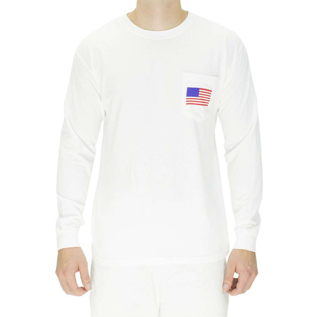 Men's Tee Shirts - The Election Year Reagan Bush 84 Long Sleeve Pocket Tee In White By Full Time American