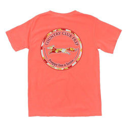Men's Tee Shirts - The Hawaiian Outline Logo Tee Shirt In Neon Red Orange By Country Club Prep