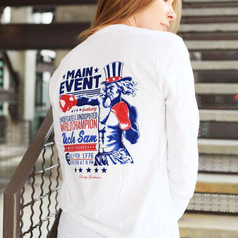 The Main Event Long Sleeve Pocket Tee in White by Rowdy Gentleman