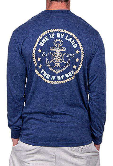 The Revere Long Sleeve Pocket Tee Shirt in Navy by Rowdy Gentleman