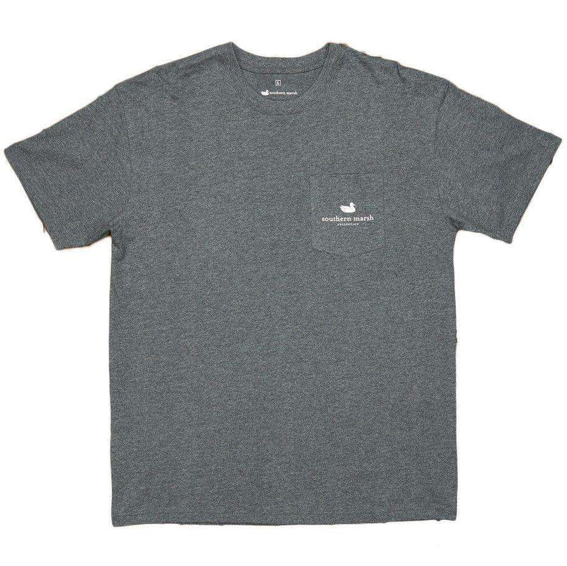 Men's Tee Shirts - The South River Route Tee In Midnight Grey By Southern Marsh