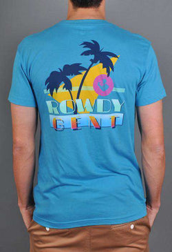 Men's Tee Shirts - The Vice Short Sleeve Pocket Tee In Caribbean Blue By Rowdy Gentleman - FINAL SALE