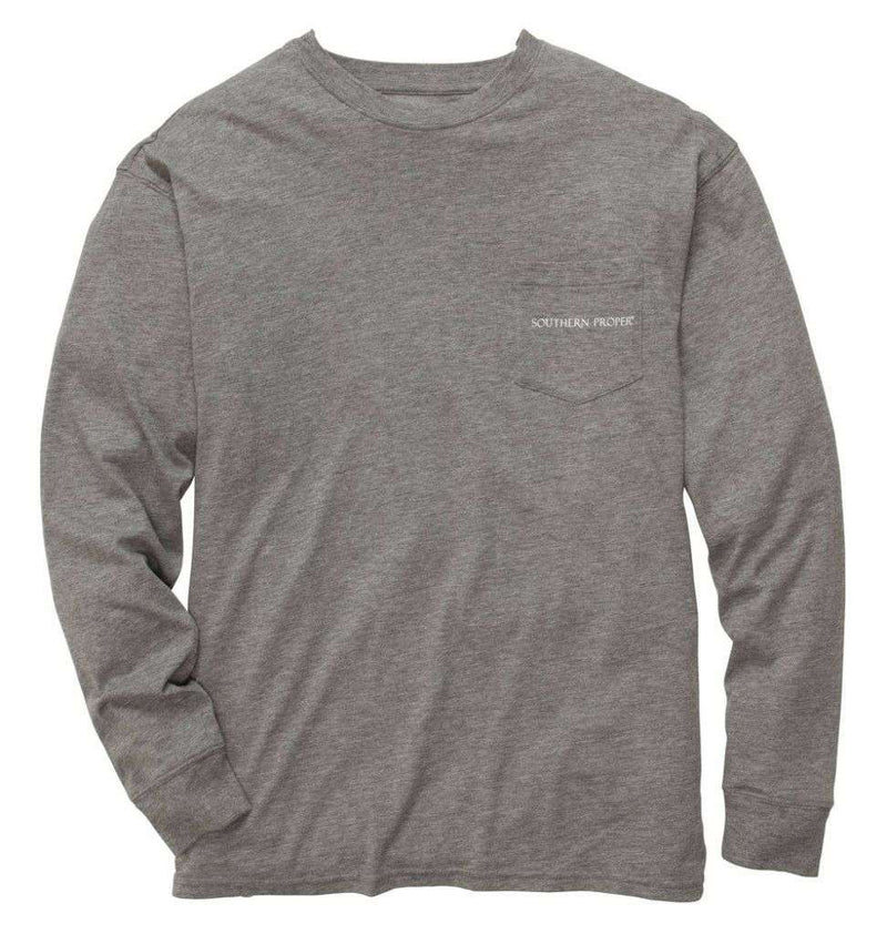 This Dog Hunts Longsleeve Tee Shirt in Heathered Grey by Southern Proper