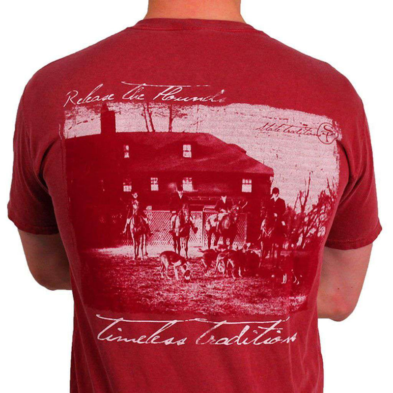Men's Tee Shirts - Timeless Traditions Hounds T-Shirt In Brick Red By State Traditions