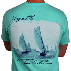 Men's Tee Shirts - Timeless Traditions Regatta T-Shirt In Island Reef Green By State Traditions