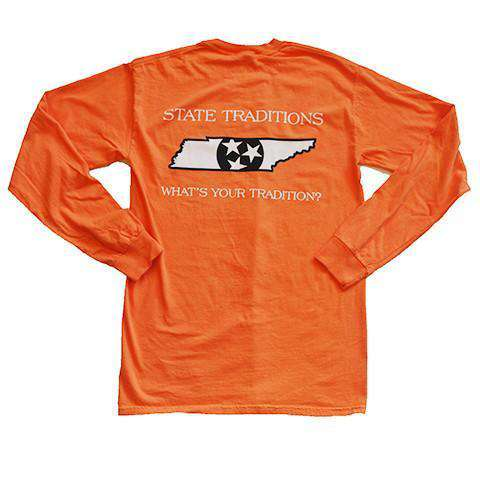 Men's Tee Shirts - TN Knoxville Traditional Long Sleeve T-Shirt In Orange By State Traditions