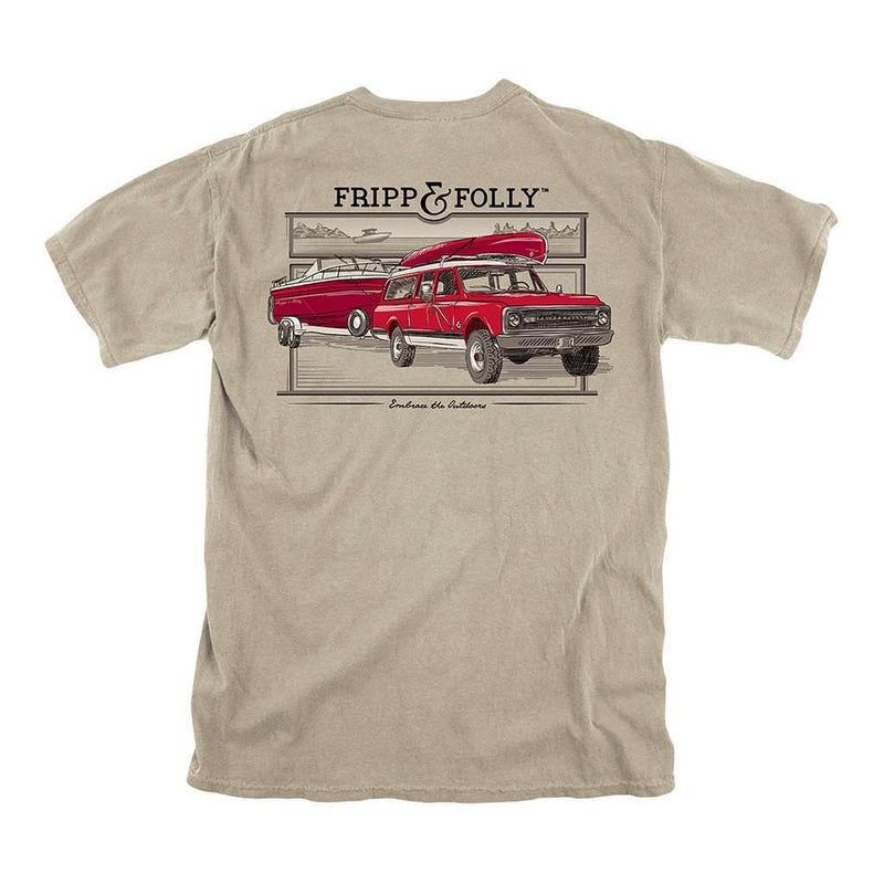 Men's Tee Shirts - Truck And Boat Tee In Khaki By Fripp & Folly