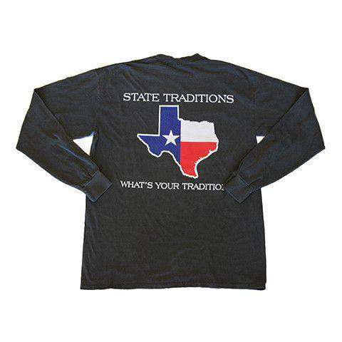 Men's Tee Shirts - TX Traditional Long Sleeve T-Shirt In Pepper By State Traditions