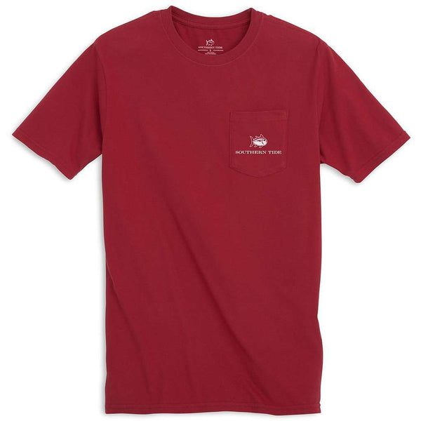 Men's Tee Shirts - University Of Alabama Skipjack Fill T-Shirt In Crimson By Southern Tide
