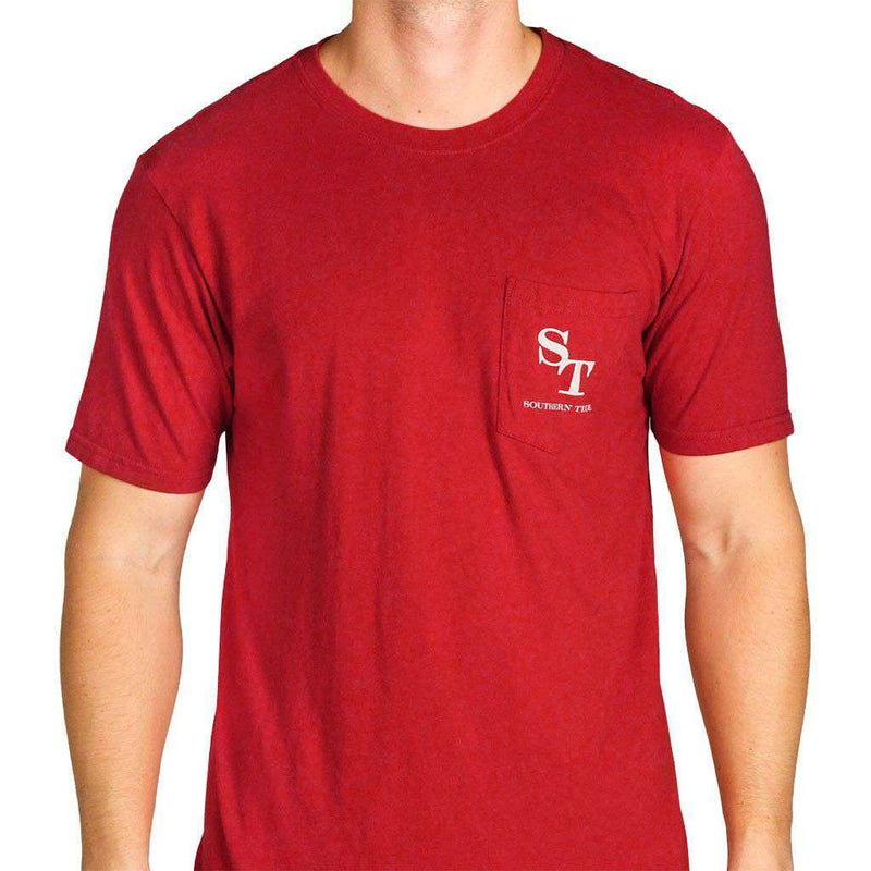 University Outline Pocket Tee in Crimson by Southern Tide