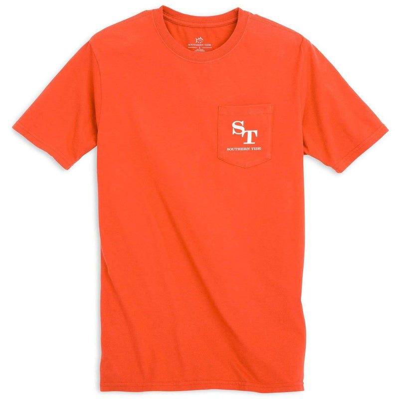 University Outline Pocket Tee in Endzone Orange by Southern Tide