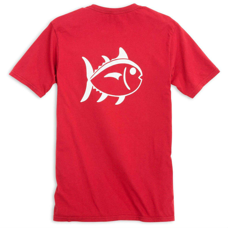 Men's Tee Shirts - University Outline Pocket Tee In Varisty Red By Southern Tide