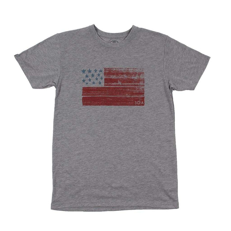 Men's Tee Shirts - USA Flag Recycled Tee Shirt In Grey By 30A - FINAL SALE
