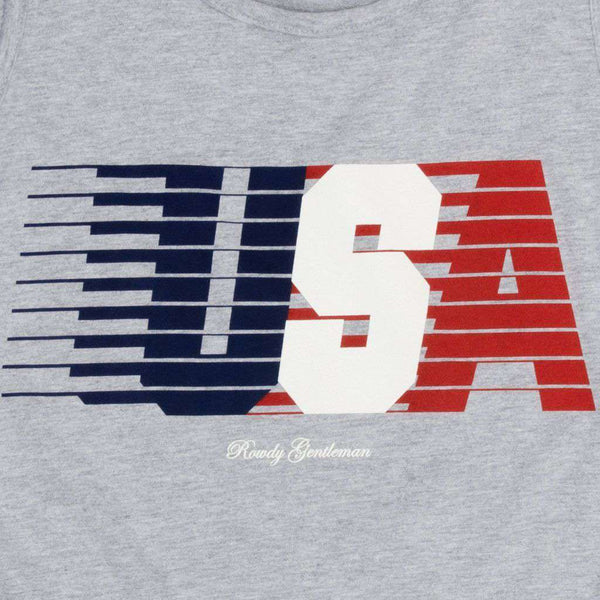 USA Streaking Tank Top in Dark Grey by Rowdy Gentleman - FINAL SALE