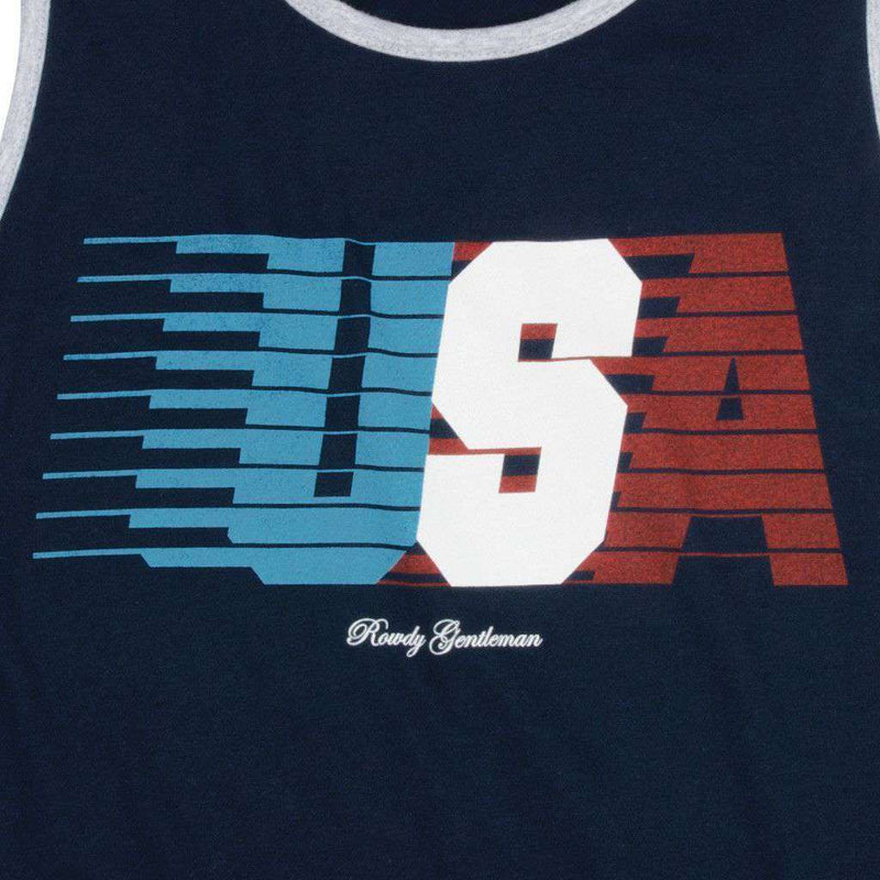 USA Streaking Tank Top in Navy by Rowdy Gentleman