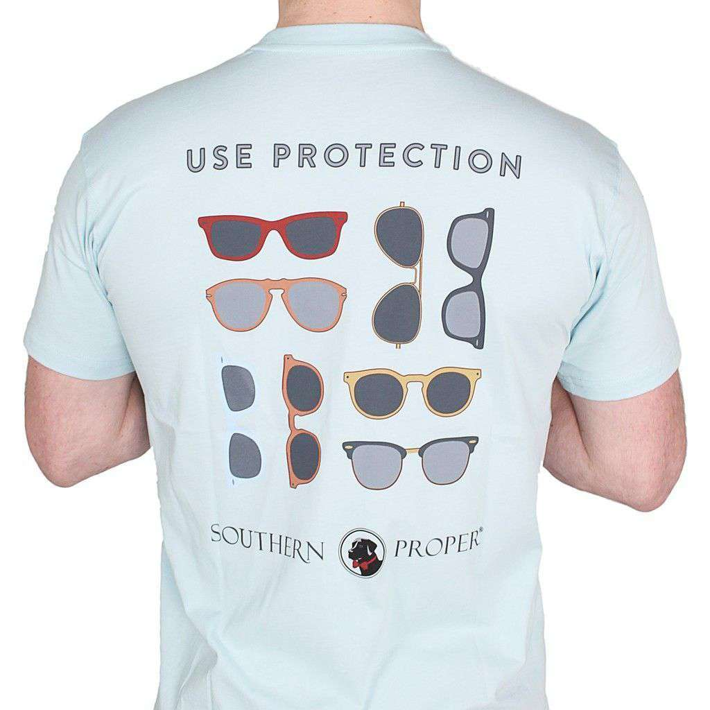 Men's Tee Shirts - Use Protection Tee In Aqua By Southern Proper