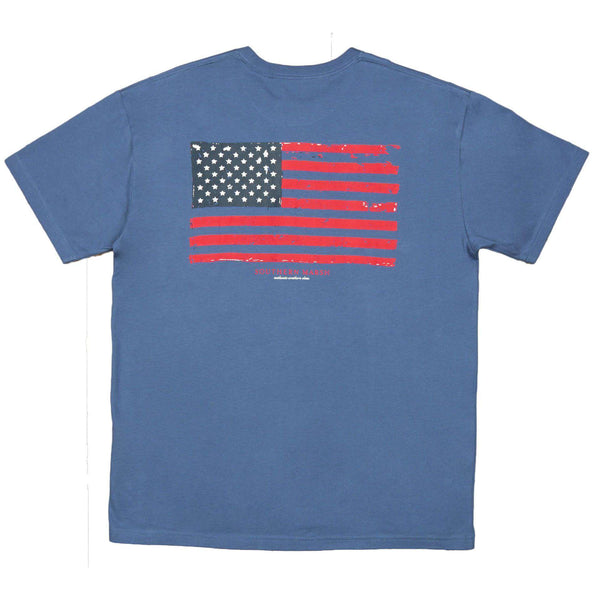 Men's Tee Shirts - Vintage Flag Tee Shirt In Bluestone By Southern Marsh