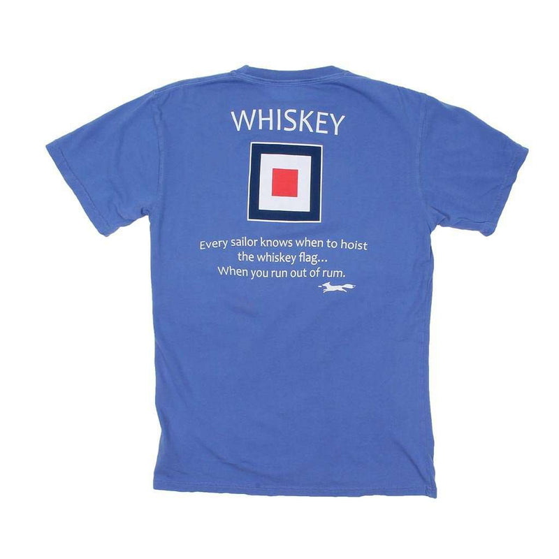Men's Tee Shirts - Whiskey Flag Tee In Mystic Blue By Country Club Prep - FINAL SALE